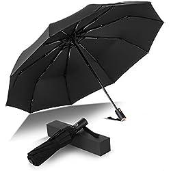 Parapluie Pliant Coupe-Vent Parapluie Pliable et Compact avec 10 Baleines 210T Saiveina Parapluie de Voyage Ouverture et Fermeture Automatique pour Homme et Femme Noir