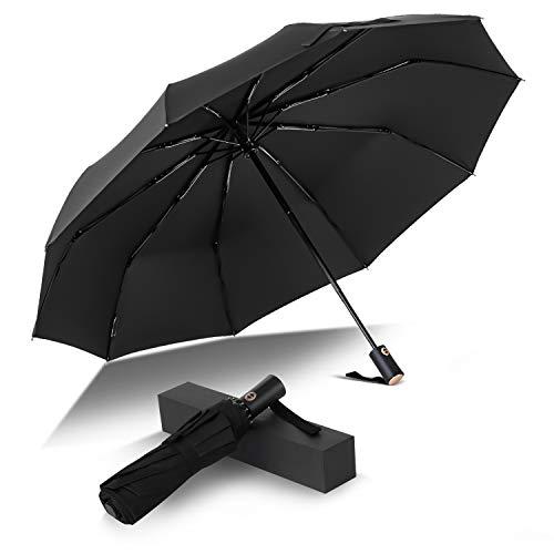 Parapluie Pliant Coupe-Vent Parapluie Pliable et Compact avec 10 Baleines 210T Saiveina Parapluie de Voyage Ouverture et Fermeture Automatique pour Homme et Femme No