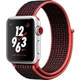 Apple Watch Nike+, 38 mm, GPS + Cellular, Aluminium Gehäuse, Silber mit Nike Sportloop, Bright Crimson/Schwarz, 2017
