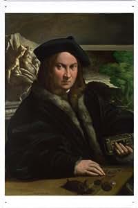 Oil Painting of Parmigianino - Portrait of a Collector de Enseignes affiche en metal 20*29cm by Wposter