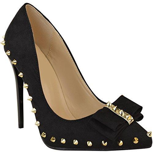 FASHION Thirsty donna borchiato TACCHI ALTI SEXY scarpe eleganti da festa Sandali Tacchi a spillo Taglia Nera Pelle Scamosciata