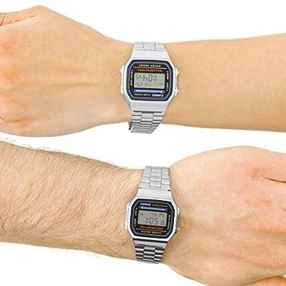 Casio A168WA-1YES – Reloj , correa de acero inoxidable chapado color metalizado