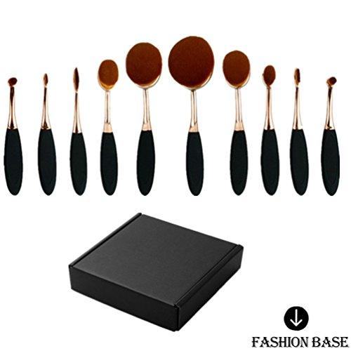 Fashion Base® Crazy Hot Professional 10 pcs/Ensemble de brosse à dents Forme ovale Lot de brosse de maquillage professionnel Fond de teint poudre Brosse Kits Box Set (Rose Glod)