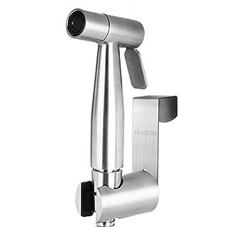 SMAGREHO Bidet-Handbrause für Toilette aus gebürstem Edelstahl, ink. Wandhalterung, Wasserdruck einstellbar, für Intimpflege Windeln Toieltte waschen (Flach)