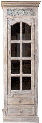 Schmaler Schrank mit Glasfont und 2 Schubladen JH17-113 / Vitrinen & Glasschränke (Shop-vitrine)