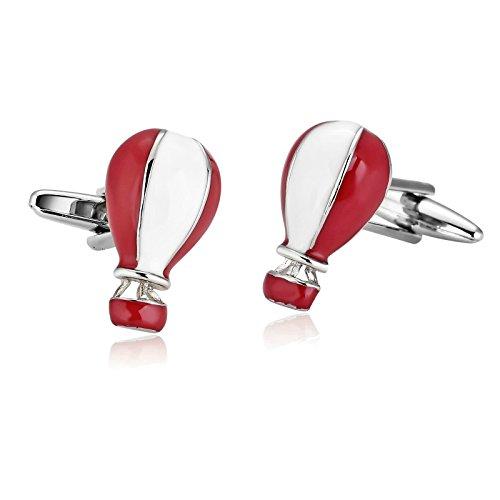 Epinki Homme Acier Inoxydable Rouge White Mode Ballon À Air Chaud Mignon Boutons De Manchette Pour Business Mariage