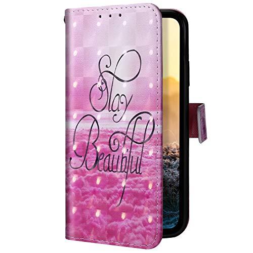 Uposao Kompatibel mit Samsung Galaxy A2 Core Handyhülle Glitzer Bling 3D Bunt Leder Hülle Flip Schutzhülle Handytasche Brieftasche Wallet Bookstyle Case Magnet Ständer Kartenfach,Wolke