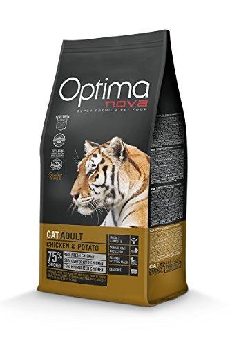 Nourriture Optimanova Super Premium Croquettes Chat Adult - Poulet et de Pomme de terre - hypoallergénique - sans céréales - 2 kg. - 40% Viande fraîche - à partir de 12 mois-