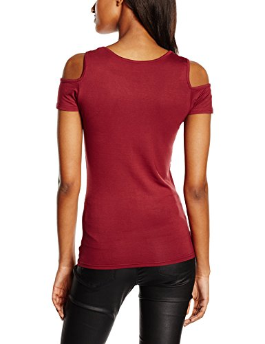 Urban Classics Ladies Cutted Shoulder Tee, T-Shirt Femme, Bordeaux, X-Small Rot (burgundy 606)