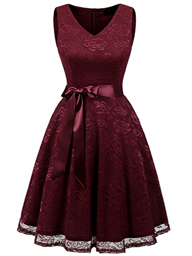 IVNIS RS90025 Damen Ärmellos Vintage Spitzen Abendkleider Cocktail Party Floral Kleid Burgundy XL
