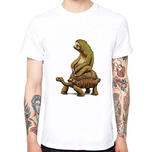 Yingyan Faultier und Schildkröte Männer Baumwolle Weichen Lustigen Kühlen T-Shirts Kurzarm Tops T Größe L (Abenteuer-film T-shirts)