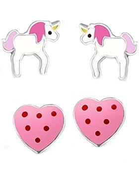 SL-Silver Set Kinder Ohrringe kleines Einhorn und Herz 925 Silber in Geschenkbox