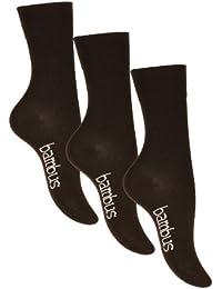 Lot de 3, 6, ou 9 paires de chaussettes BAMBUS - pointe remaillée main - sans élastique - femme - noir