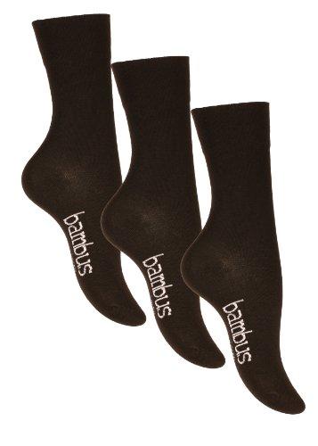 Lot de 6 paires de chaussettes BAMBUS - pointe remaillée main - sans élastique - homme (39/42, Noir) Vincent Creation
