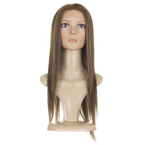 Perruque Rihann Longue Brune Raide Front-Dentelle |Melange Cheveux Naturels
