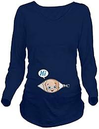 Q.KIM Camiseta Divertido Estampada de Sin Mangas/Manga Corta/Manga Larga premamá para Mujer Embarazo Lactancia T-Shirt-Hi Serie