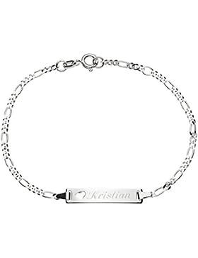 925/- Sterling-Silber Damen Mädchen ID Armband mit Herz 16 cm / 18 cm mit Wunsch-Gravur