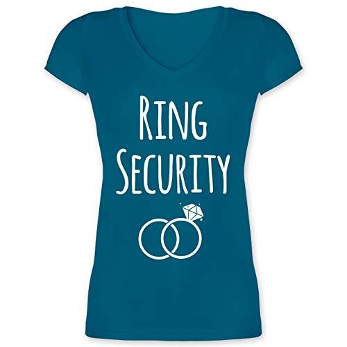 Hochzeit - Ring Security - XXL - Türkis - XO1525 - Damen T-Shirt mit V-Ausschnitt