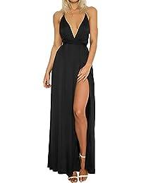 Vestito… Senza Profondo Ragazza Spiaggia V Lungo Schienale Maxi Smanicato Abito Abiti Eleganti Vestiti Donna Mare Puro Colore Estivi Nn80wPkXO