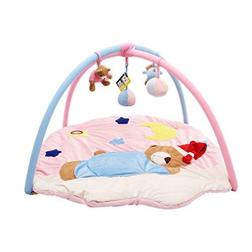 Gym Hut (Kenmont Baby Spieldecke Spielbögen Activity Gym Krabbeldecke Plüschtiere weiches Spielzeug Babybett für Baby (Rosa Hüte Bär))