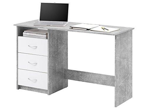 """Schreibtisch Computertisch Arbeitstisch Bürotisch Laptoptisch Büromöbel \""""Mack I\"""" Beton/Weiß"""