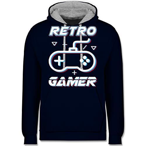 Shirtracer Nerds & Geeks - Retro Gamer Gamepad Controller Glitch - XS - Navy Blau/Grau meliert - JH003 - Kontrast Hoodie - Männer Green Lime Hoodie