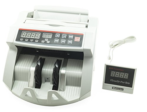 Buoqua Banknotenzähler und -prüfgerät mit LED-Display, professioneller Banknotenzähler mit Falschgeld-Detektor Contabanconote