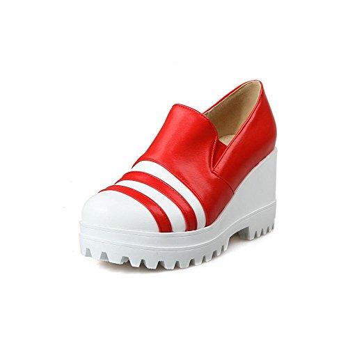 AllhqFashion Damen Hoher Absatz Rund Zehe Gemischte Farbe Pu Pumps Schuhe Rot