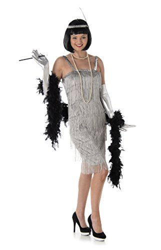 Silver Flapper Ladies Fancy Dress 20s 1920s Jazz Charleston Womens Adult Costume (1920 Tänzerin Kostüm)