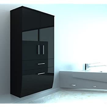 badm bel hochglanz hochschrank badezimmerschrank h ngend h ngeschrank schwarz oder wei schwarz. Black Bedroom Furniture Sets. Home Design Ideas