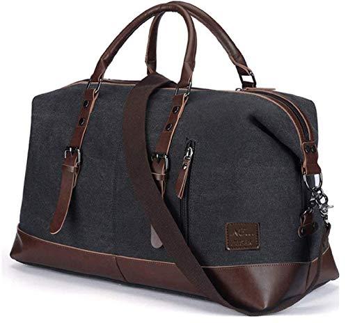 N3 ZELEK bolsa de gimnasio de gran capacidad, bolsa de lona para viajes, bolsa de hombro para el fin de semana de la noche, bolsa de viaje para hombres y mujeres, bolsa de viaje con asa de piel sintét