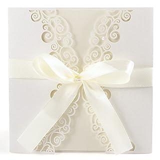 Anladia 10er Ivory Weiss Einladungskarten Elegant Spitze Design mit Karten, Umschläge, Schleifer, Einlegeblätter OHNE DRUCK Hochzeit Geburtstag Taufe Party Einladung #06