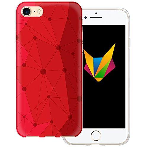 Mobilefox Grafik transparente Silikon TPU Schutzhülle 0,7mm dünne Handy Soft Case für Apple iPhone 7 Grafik Atomium Rot