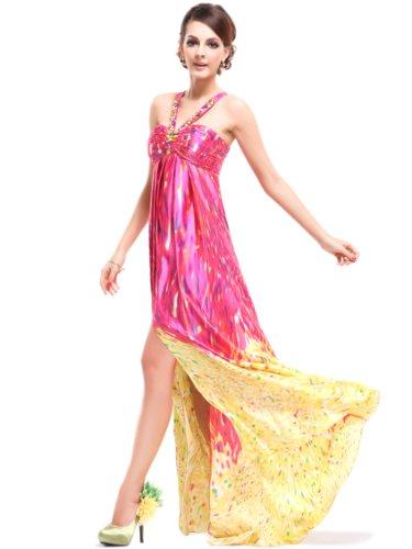 Ever Pretty Damen Sexy Gedruckt Mehrfarbig Satin Spalte Neckholder Lang Party Abendkleid 09743 Gelb