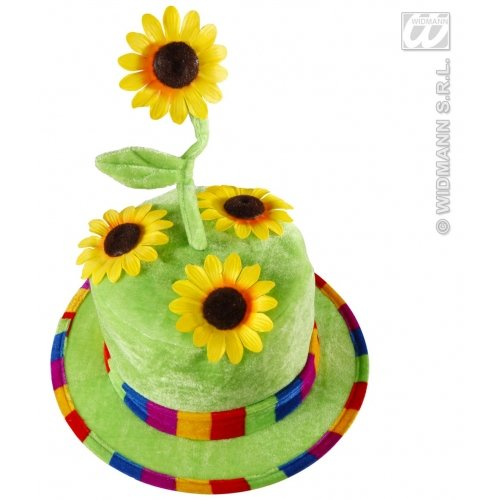 Widmann wdm2636F-samtiger Kostüm-Hut mit Sonnenblumen für Erwachsene, grün, - Blumentopf Fancy Dress Kostüm