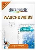 HEITMANN Wäsche Weiss: Waschmittelzusatz für alle Temperaturen, beseitigt Vergilbungen und Grauschleier, wirkt fasertief, mit Aktiv-Sauerstoff und 3fach-Formel für extreme Weisskraft, 50g