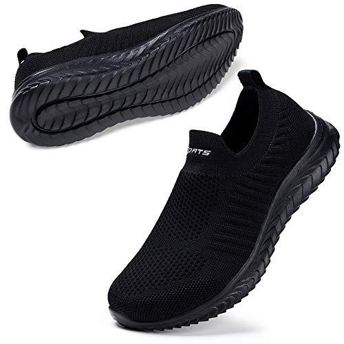 STQ Damen Bequen Slip on Wanderschuhe Fashion Bequeme Komfort Laufschuhe Atmungsaktive Outdoor Fitness Sneakers Schwarz Alles Schwarz 38 EU
