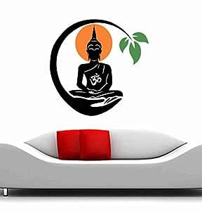 Decor Kafe Meditating Buddha Floral Wall Stickers