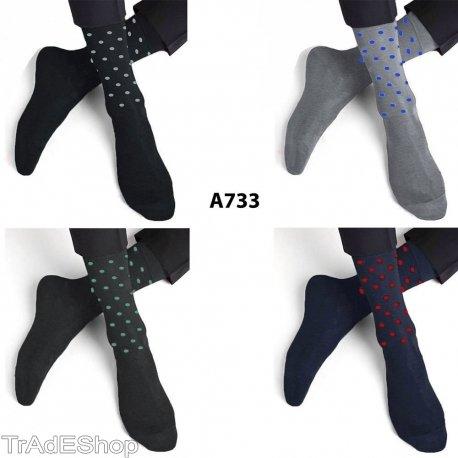 TrAdE shop Traesio- 12Pares de Calcetines de Hombre Hilo de Escocia algodón con Puntos Lunares Media Pierna