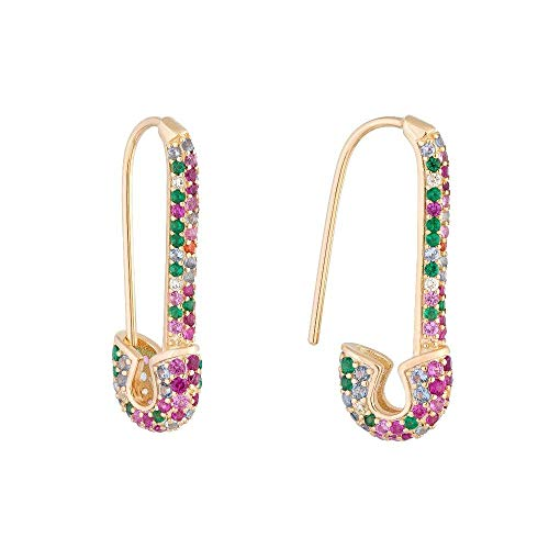 Coloreunicoclip graffetta spille da balia moda elegante donna gioielli oro riempito arcobaleno delicato orecchini nuovo