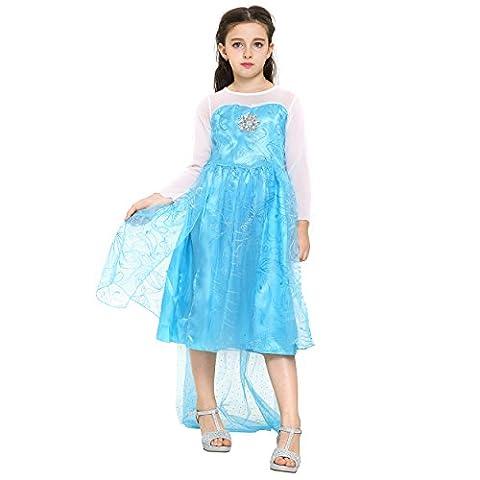 Katara - Frozen Robe étincelante d'Elsa la Reine des Neiges pour filles/ robe de déguisement bleu ciel avec traîne longue et flocon de neige en strass/ costume pour enfants - 4-5