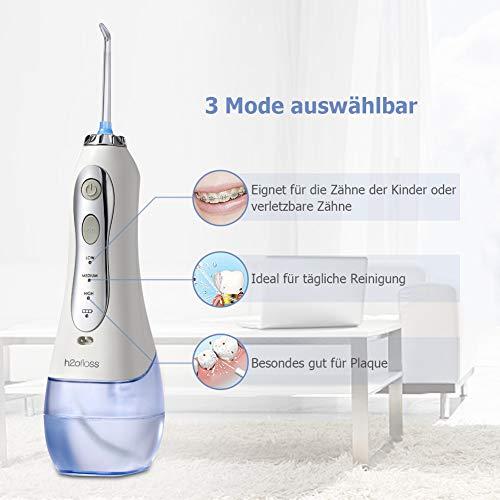 Elektrische Munddusche Zahnreiniger Wasserreiniger, Kabellos Wasser Flosser Aufladbar Oral Irrigator 300ml Wassertank mit 3 Modi und 5 Düsen, MEHRWEG