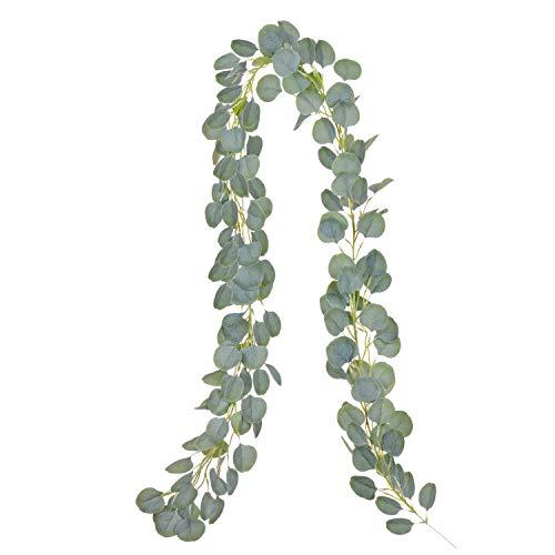 YQing Artificial Eucalipto Guirnalda Planta, Eucalyptus Guirnaldas Seda Hojas Vines Artificiales Decoracion Boda Fondo Pared Decoración