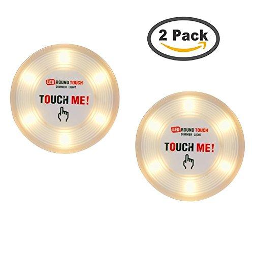 Tougo Großes 6-LED Licht Dimmbare Nachtlicht Lampe Batteriebetriebene Stick-Anywhere-Innen für für Schränke, Kabinett, Keller, Küche, Lagerung, Schlafzimmer / 2 Stück Gelb