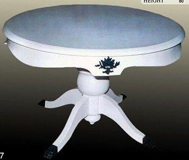 LouisXV Table ronde baroque blanc rococo MoCoC0477