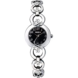 Time100 Ladies' Fashion Romantic Clover Diamond Black Dial Bracelet Watch #W50053L.02A
