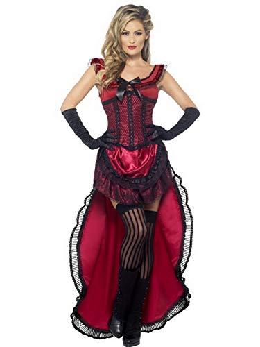 Halloweenia - Damen Frauen bourlesques Western Salloon-Girl Bordell Schätzchen Kostüm mit Kleid und Korsett, perfekt für Karneval, Fasching und Fastnacht, S, - Bordell Kostüm