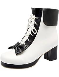 1e7d35a3df27bb Agodor Damen Chunky Heels Ankle Boots mit Schnürung und Schleife  Blockabsatz Süße Stiefeletten Rockabilly Schuhe