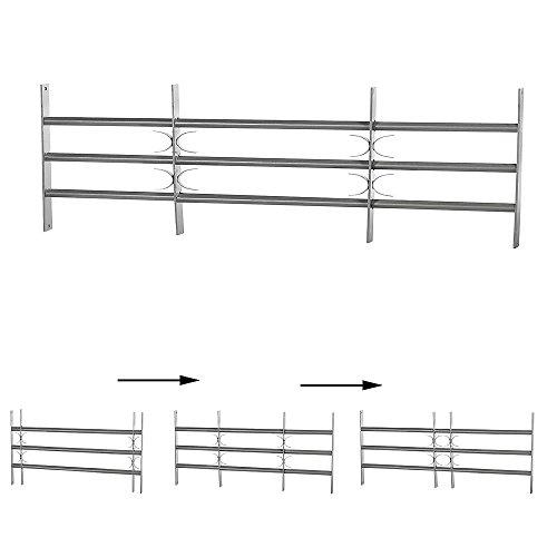 Melko Fenstergitter Balkongitter Stabgeländer als Einbruchschutz aus Stahl, Silber, 3 Querstreben, 45 x 100-150 cm - mit dekorativen X-Bögen
