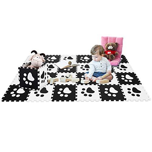 COSTWAY Puzzlematte 24 Stück, Spielmatte für Babys und Kinder, Kinderteppich je 30x30cm, Spielteppich schadstofffrei, Steckmatte aus Eva - Die Schmutzabweisenden Tücher